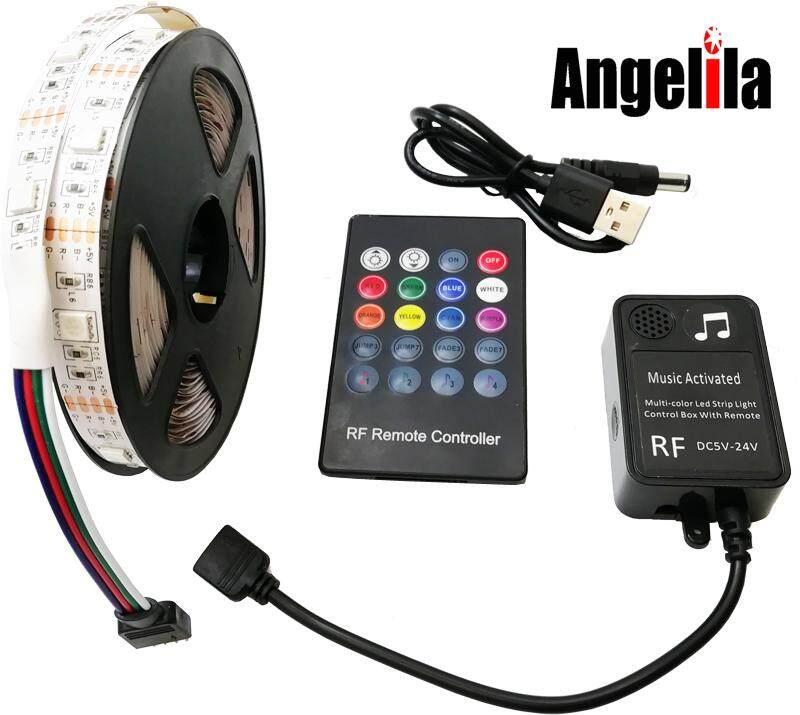 Angelila 5 V Strip LED Fleksibel Lampu Usb Terhubung Multicolor 5050 SMD dengan Rgb Remote Pengontrol