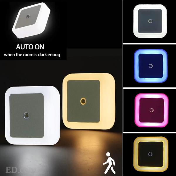 ED High Quality LED Night Light Mini Light Sensor Control Auto On/Off Nightlight Lamp For Children Kids Living Room Bedroom Lighting (UK Plug 3Pin)
