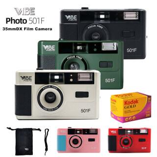 Vibe 501F Photo Máy ảnh phim 35mm Sách hướng dẫn cổ điển 135 Máy ảnh tái sử dụng phim + Kodak Gold 200 Phim cuộn 35mm 36 lần phơi sáng thumbnail
