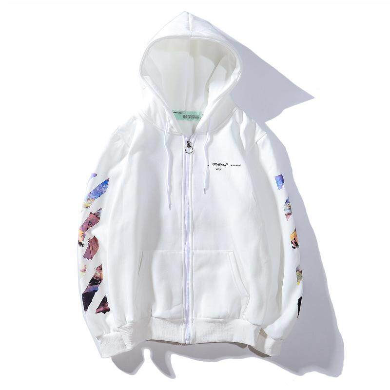 OFF WHITE Teen Graffiti Oil Painting Arrow Zipper Hoodie Plus Velvet Sweater Men's Casual Autumn and Winter Coat Thicken Street Style Bape Skateboard