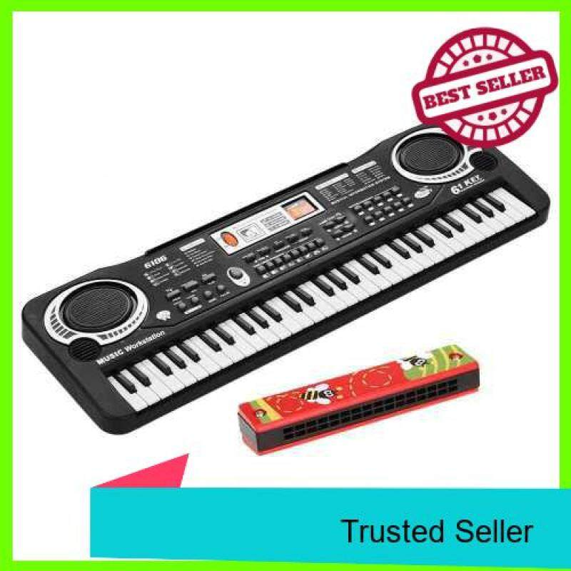 61 Keys Electronic Digital Piano Keyboard with Dual Speakers Microphone USB/Battery Powered + Tremolo Harmonica 16 Holes Kids Musical Instrument Educational Toy Wooden Cover Colorful Free Reed Wind Instrument (Standard) Malaysia