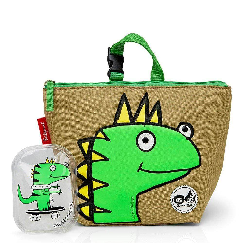 Zip & Zoe Lunch Tote With Ice Pack Childrens Backpack, 25 Cm, Dylan Dino Face By Royal Toys World.