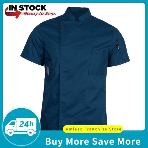 amleso Unisex Short Sleeves Chef Jacket Waiter Coat Cooks Uniform Apparel