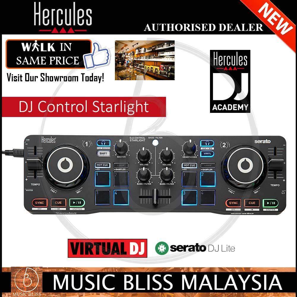 Hercules DJControl STARLIGHT with Serato DJ Lite Software Illuminated base  plate with RGB stroboscope, Virtual DJ Compatible with Excellent Jog Touch
