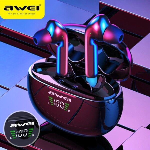 Awei T15P Wireless Headset Tws Wireless Headset with LED Display Compatible Bluetooth Touch Waterproof Gaming Headset Singapore