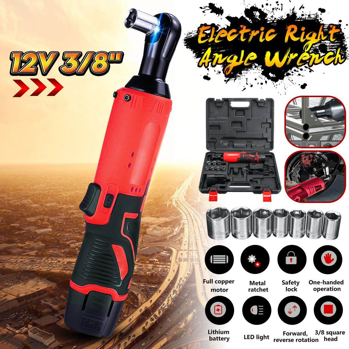 Cordless 3/8 12V 45N.m Rechargeable Ratchet 90° Right Angle Wrench Set Portable-RED2