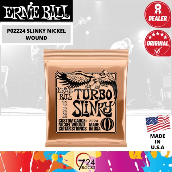 724 ROCKS Ernieball Ernie Ball 2224 Turbo Slinky Nickel Wound Electric Guitar Strings Set . 9.5-46 Malaysia