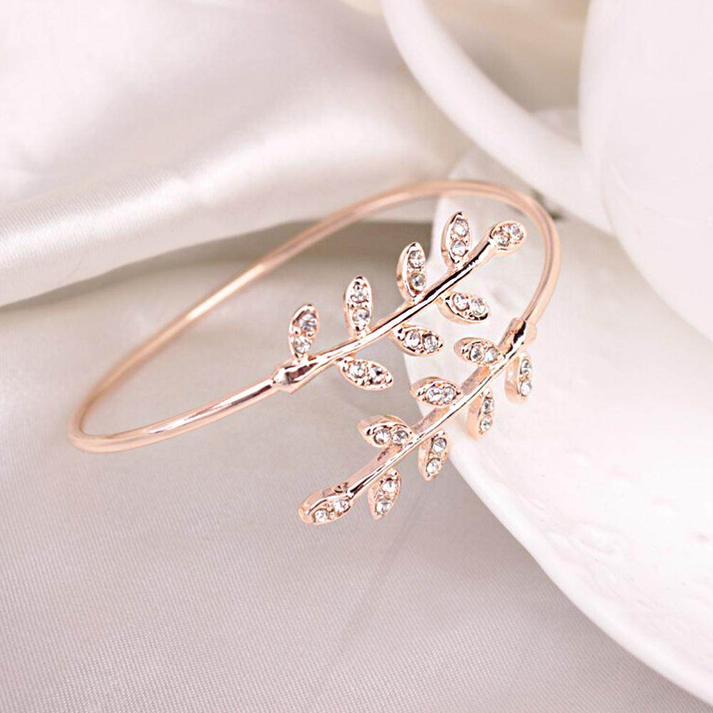 36fa45c12c59 Bangle Bracelet Hand Chain Fashion Elegant 3 Colors Leaf Shape Women  Accessories