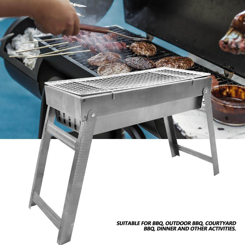Stainless Steel Portable Folding Charcoal BBQ Grill for Home Garden Backyard Party