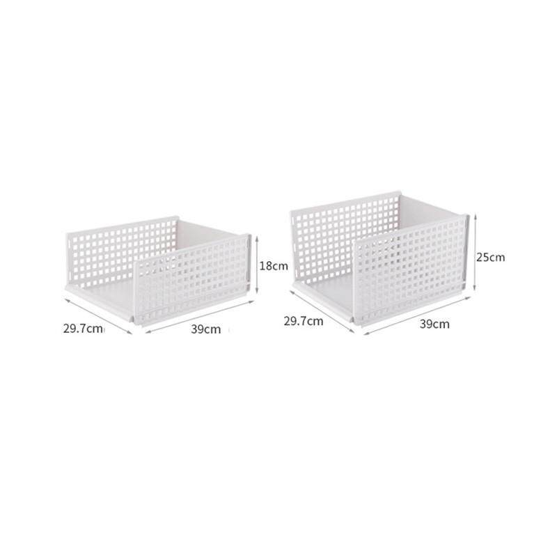 2pcs Detachable Household Drawer Set Wardrobe Organizer Shelf Clothes Storage Basket Compartment Plastic Hollow Drawer Layered Partition