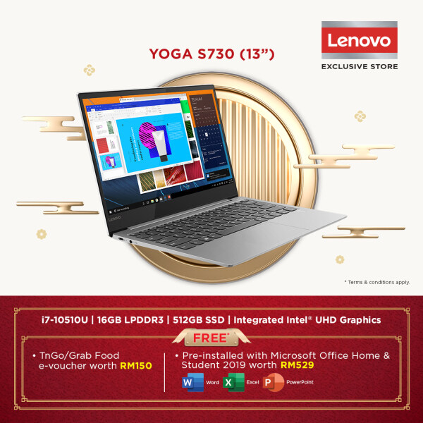 Lenovo Yoga S730-13IML 81U4000PMJ Grey Laptop ( I7-10510U, 16GB, 512GB, Intel, 13.3 FHD, OPI Home and Student) ) Malaysia