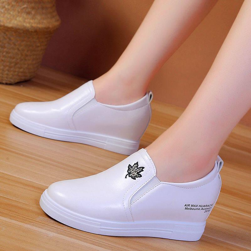 Coupon Giảm Giá Bên Trong Tăng Nhỏ Trắng Giày Nữ Giày Một Chân Giày Lười Nam Bộ Giày Giày Đơn