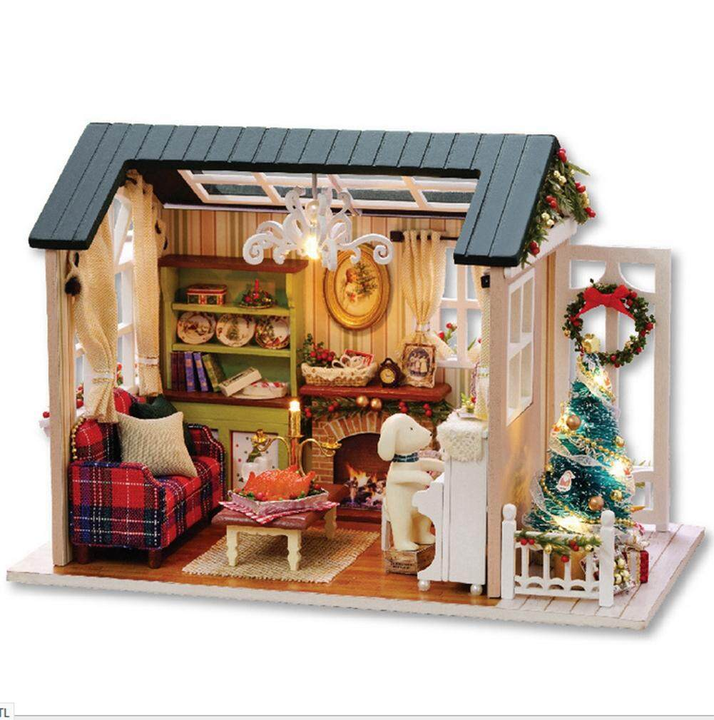 Kids DIY Miniature Wooden House Toy Furniture Handcraft Houses Model with LED Light
