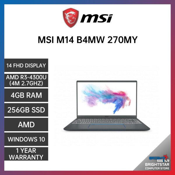 MSI MODERN 14 B4MW-270MY LAPTOP GREY 14 FHD / AMD R3-4300U / 4GB / 256GB SSD / AMD / 1 YEAR WARRANTY Malaysia