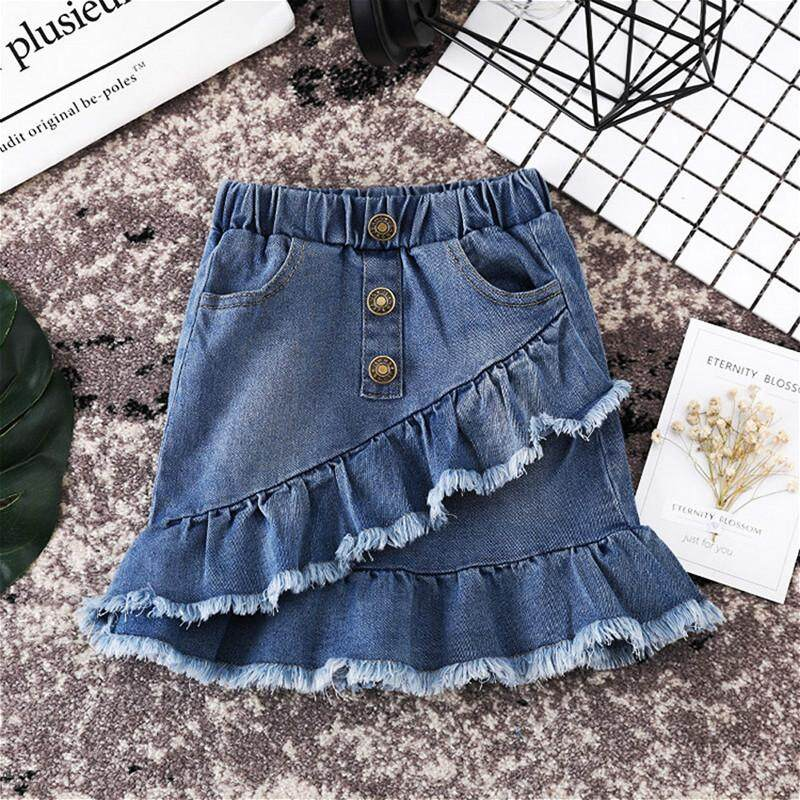 8e805c6524ddc Fashion Toddler Kids Girls Blue Denim Mini Skirts Sunsuit Baby Girl Summer  Short Ruffles High Waist