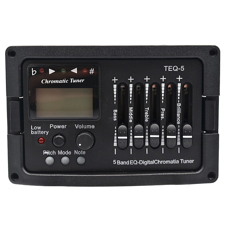 5 Band Acoustic Guitar Preamp EQ Equalizer Classical Acoustic Guitar Amplifier Digital Blend Tuner Piezo Pickup with Tail Pin