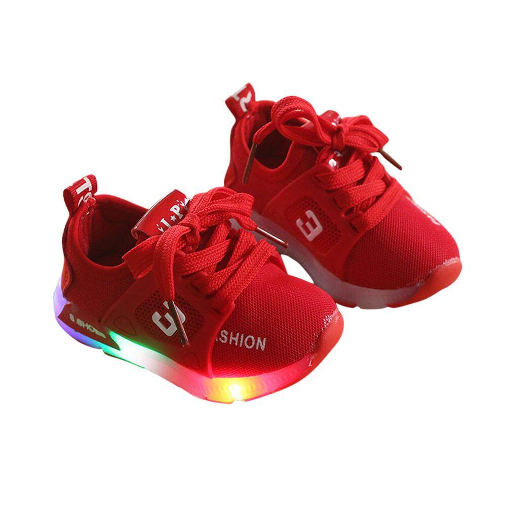timeless design e144b a3594 HuaX Kids Shoes Baby Infant Boys Girls Fashion Casual LED Luminous Lighting  Comfortable Sports Shoes