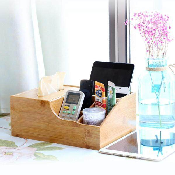 OEM Bamboo Wood Cover Tissue Box Container Holder Storage Organizer Cellular phone Tissue Holder Desktop storage