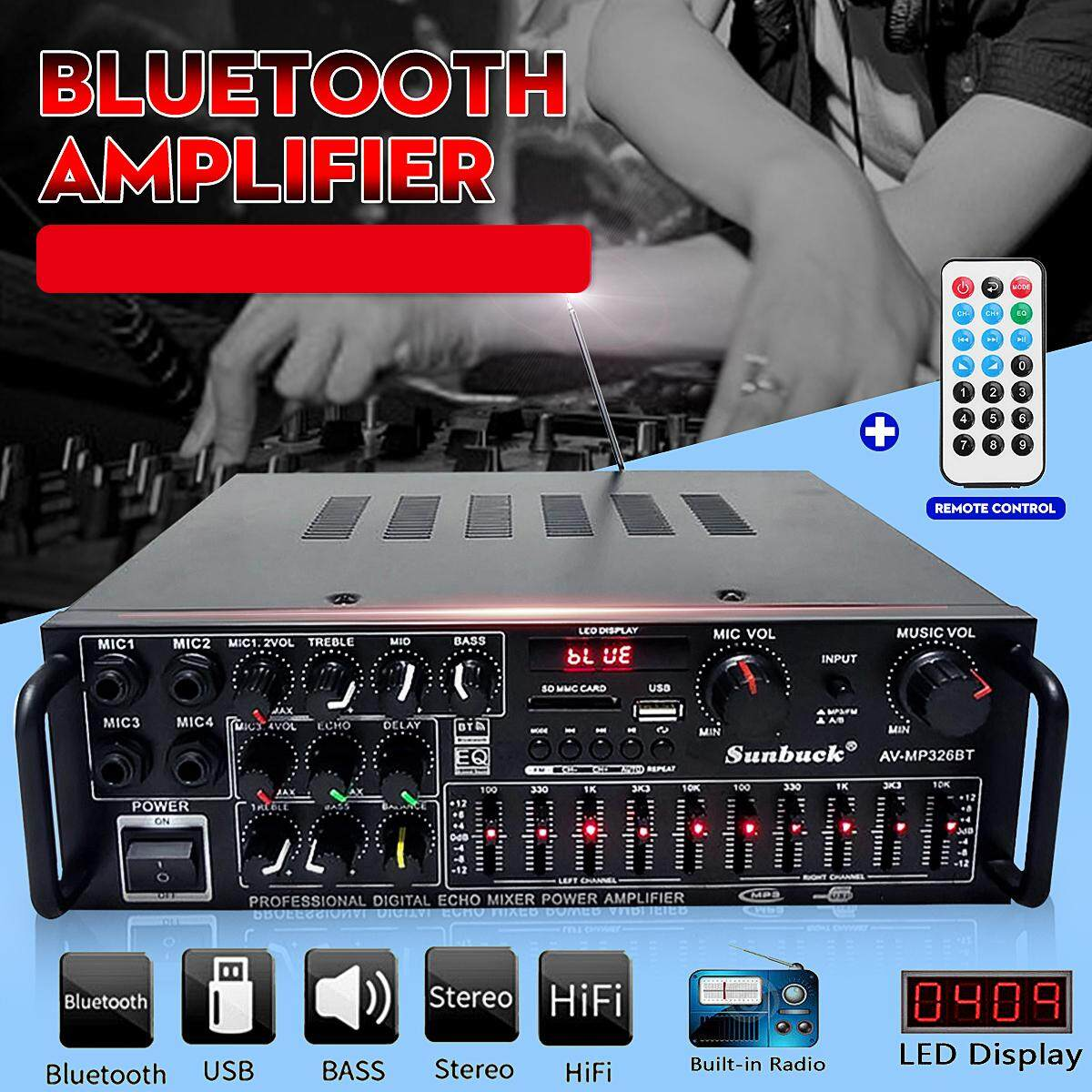 【Free Shipping + Super Deal + Limited Offer】220v 800W 4 ohm 2CH EQ  bluetooth Stereo amplifier Support USB Disk/SD Card Home