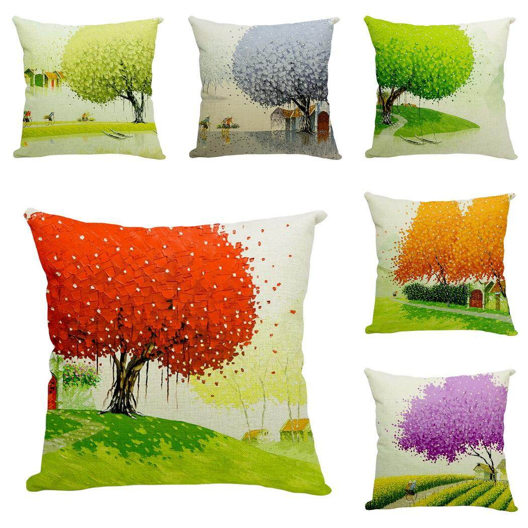Bigood Pack of 6 Spring Life Tree Cushion Cover Cotton Linen 18x18 Decors Pillowcases Sofa Pillow Cover