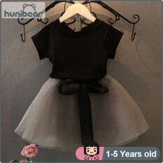 【Hunibear】Bộ Áo Váy Bé Gái 1-6 Tuổi, Áo Thun Và Váy Bé Gái Ngắn Tay, Vải Tuyn