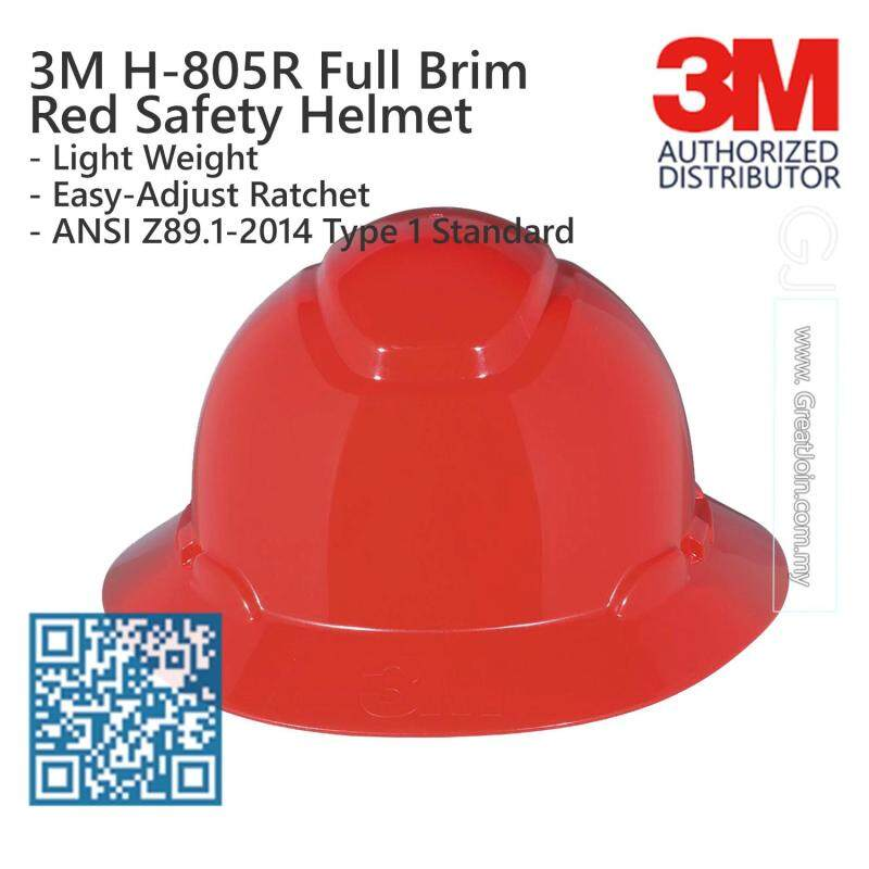 3M H-805R Red Colour Full Brim Safety Helmet/ Hard Hat/ 4-Point Suspension Ratchet Type/ ANSI Approval [1 piece] Made in USA