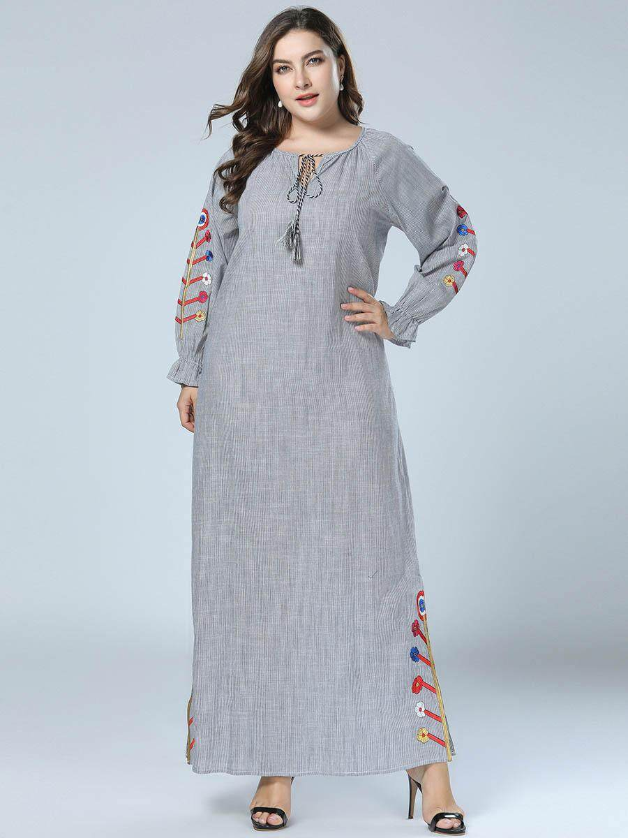 b152302aa43 Long-sleeved embroidered robes Wholesale spring and autumn new fashion  Korean dress dresses Islamic Ramadan
