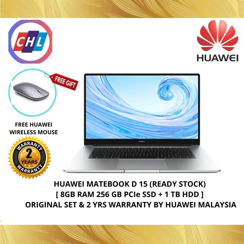 HUAWEI MateBook D 15 (Mystic Silver) 8GB RAM+256GB SSD+1TB HDD - Huawei Malaysia Warranty Malaysia