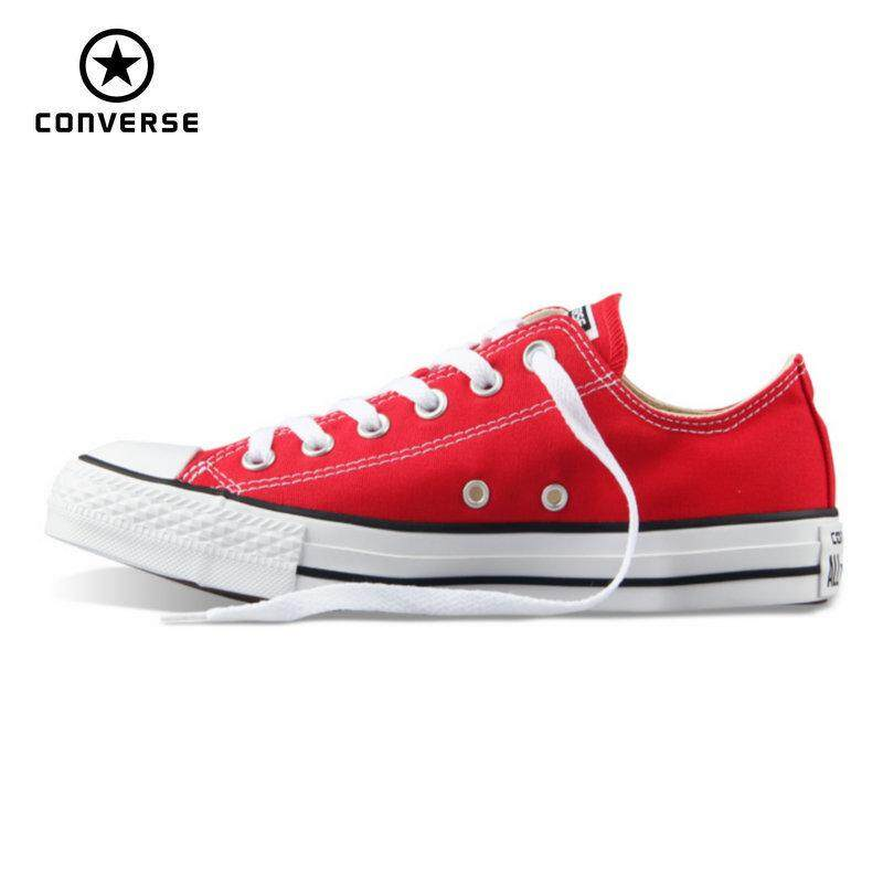 สอนใช้งาน  ลำปาง Original Converse_all star canvas shoes women man unisex sneakers low classic women Skateboarding Shoes red color free shipping
