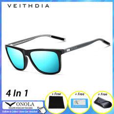 [100% Original][4 In 1]ONOLA VEITHDIA Men Women Sunglasses UV400 Anti-ultraviolet Outdoor Unisex Polarized Sunglasses