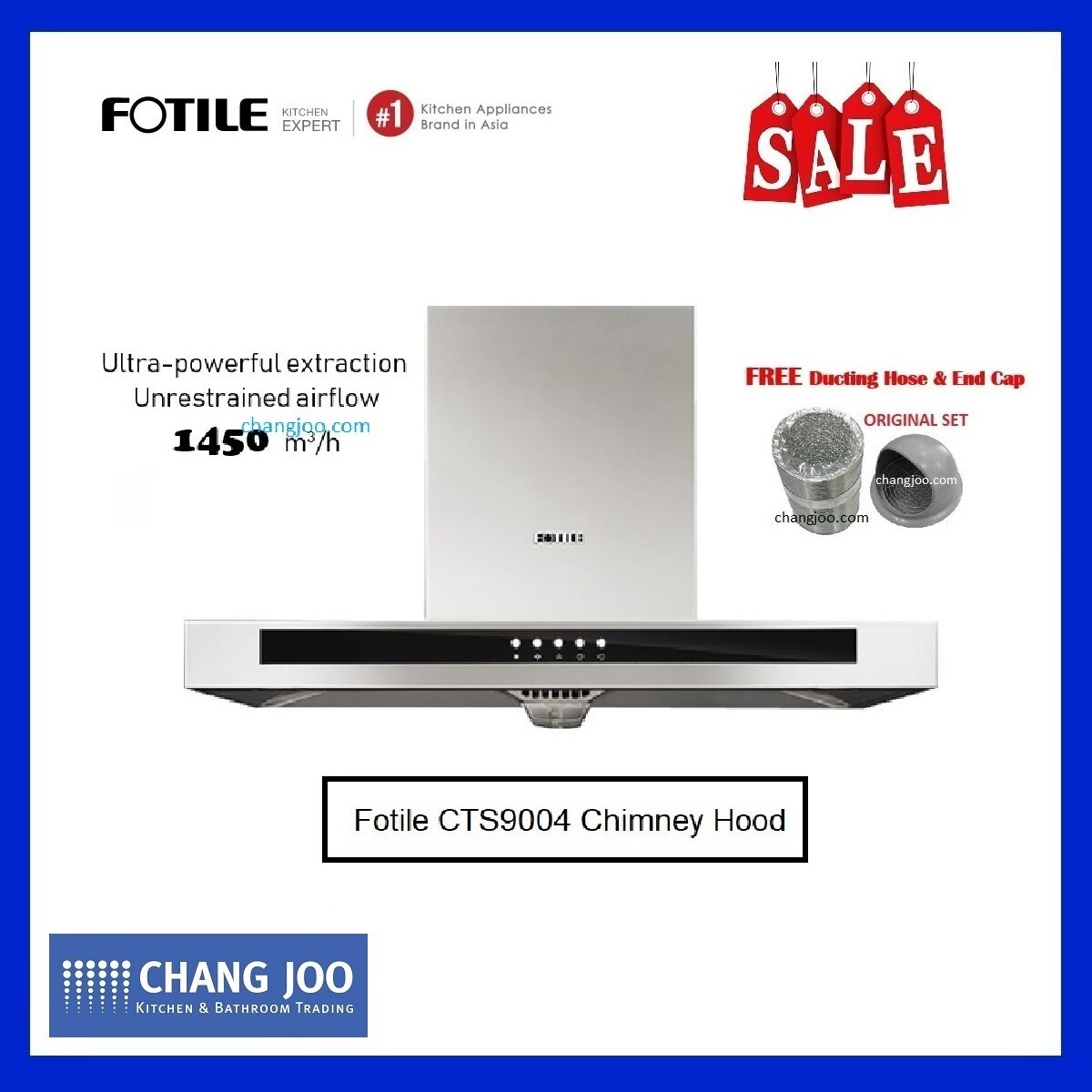 Fotile CTS9004 Chimney Hood 1450m3/h unrestrained airflow