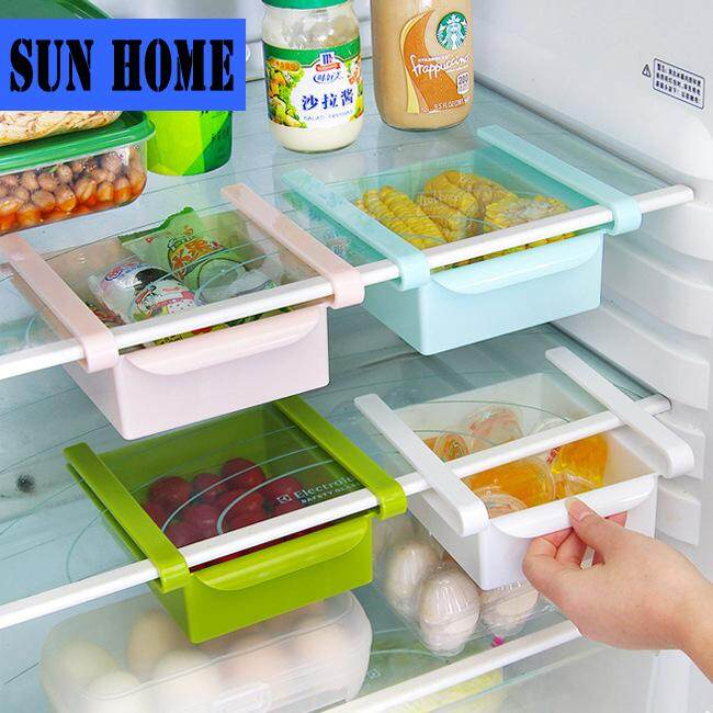 SUN HOME [4PCS ]Refrigerator storage separator layer multi-purpose finishing storage rack Refrigerator pulsating classification storage rack