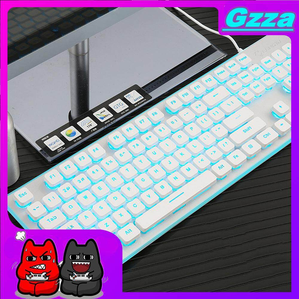 Không Thể Bỏ Qua Giá Hot với Gzza【COD】【Free Shipping】 LED Backlight Mechanical Desktop Computer Wired Game Glowing Suspension Keyboard Aluminum Base 104 Standard Keys Jp