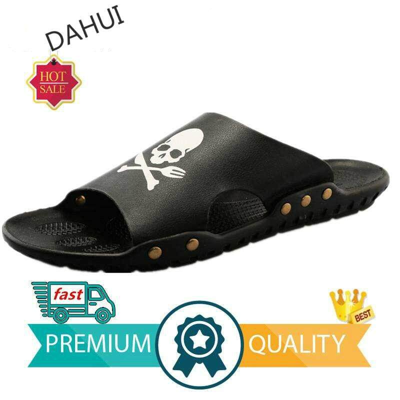 Men Summer New Skull Pirate Tide Slippers Fashion Beach Shoes House Slippers (black) By Taishandahui.