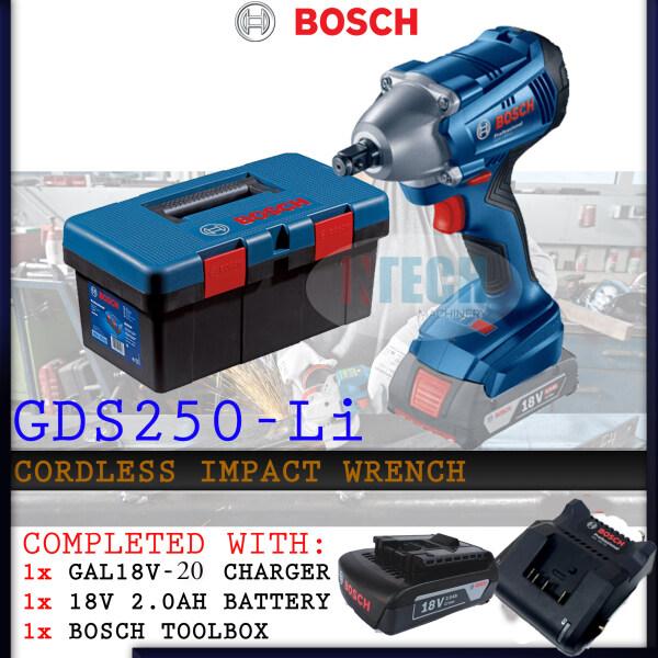 BOSCH GDS250-LI PROFESSIONAL CORDLESS IMPACT WRENCH  C/W TOOL BOX + 1NO GAL18V-20 CHARGER & 1NO 18V 2.0AH BATTERY (GDS250LI)
