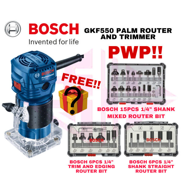 EEHIONG1977 BOSCH GKF 550 GKF550 Palm Router And Trimmer 1/4 6MM 550W+Router Bit Set 棕榈路由器 修剪器 刨机 木工刨床