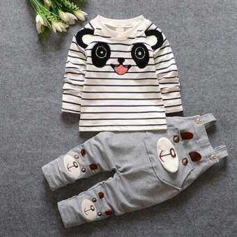 เสื้อผ้าเด็กทารกเด็กผู้หญิงเด็กผู้ชายชุดเสื้อผ้าหมีน้อยลายแขนยาวเสื้อยืด + สายรัดกางเกงชุดเด็กชุดกีฬา 1-4Y-