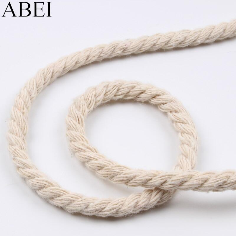 10mm 100/% Natural Pure Cotton Rope 3 Strand Braided Twisted Cord Twine Sash