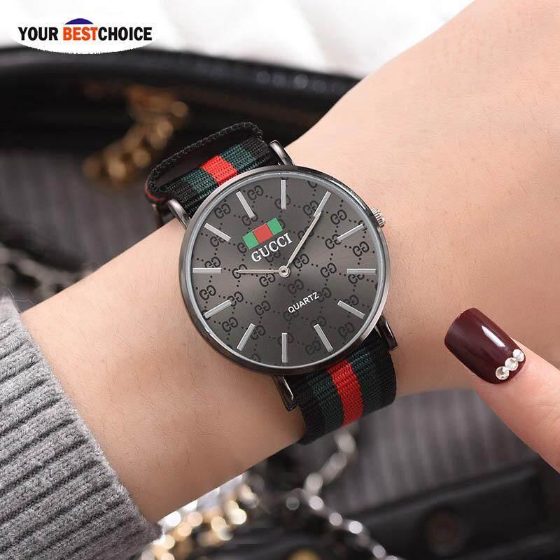 Ybc Classic นาฬิกาข้อมือควอตซ์ผ้าใบเคสที่คาดโลหะผสมนาฬิกาลำลอง By Your Bestchoice.