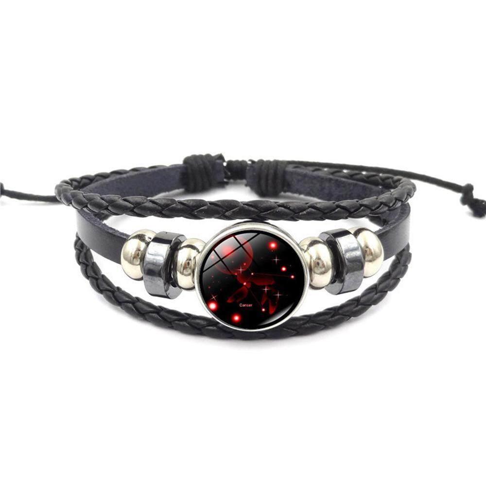 Etersummer Rasi Gelang Retro 12 Rasi Beaded Kulit Anyaman Tangan Hadiah Ulang Tahun Gelang Perhiasan untuk Pria dan Wanita dari Segala Usia, remaja Perempuan, Anak Laki-laki