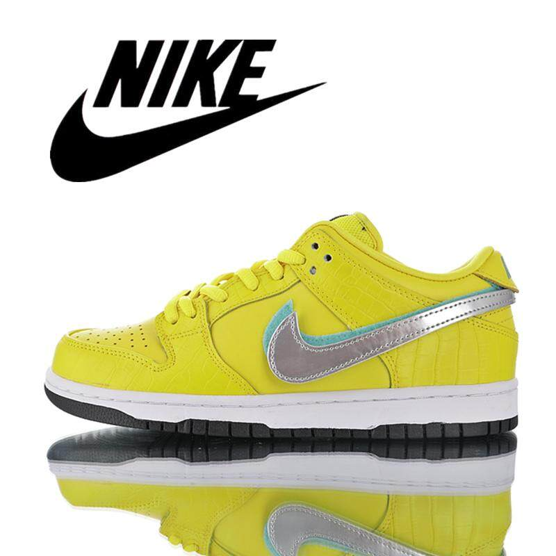 Nike_SB Rendah Pro Zoom Anti-Slip Pria Sepatu Skate Wanita Olahraga Sepatu Buaya Kulit Lemon Kuning BV1310-700 36- 45