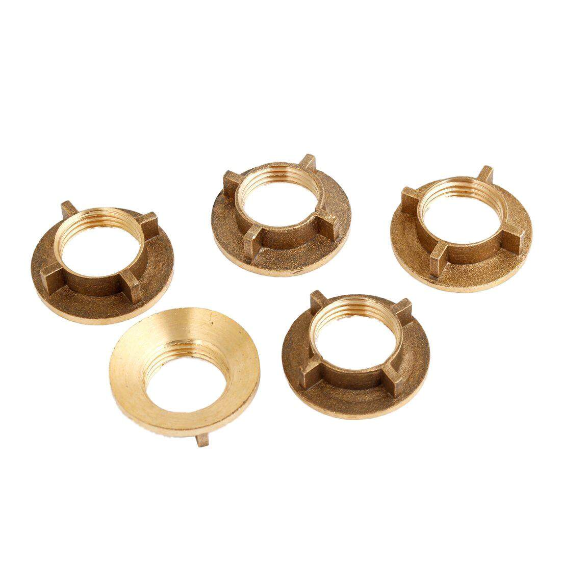 5 Pcs Gold Tone Brass 1/2PT Threaded Household Water Tap Faucet Nuts