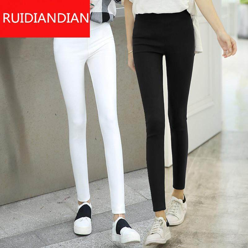 Black Cropped Trousers Womens Leggings Summer Stretch Tight Pencil Black Pants Elastic Waist Pants By Ruidiandian.