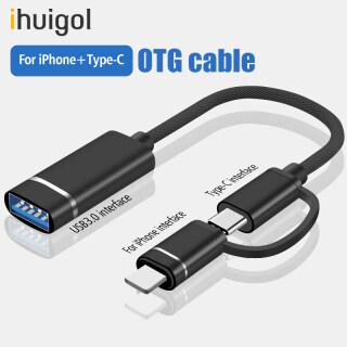 Ihuigol Đèn Chuyển Đổi USB C Sang USB 2 Trong 1 OTG Bộ Chuyển Đổi Bộ Chuyển Đổi Cho iPhone Samsung Xiaomi Cáp Chuột Bàn Phím U Đĩa Chuyển Đổi thumbnail