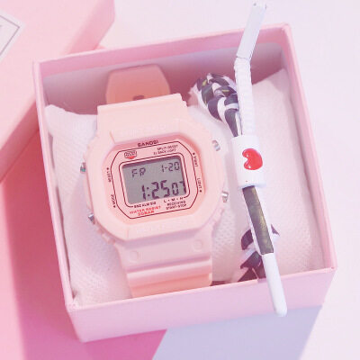[Buy One Take One]ZE Harajuku Style Ins Electronic Female Watch Sports LED Alarm  Electronic Watch for Women Multifunctional  Fashionable  Digital Wristwatch for Girl Boy Student Malaysia