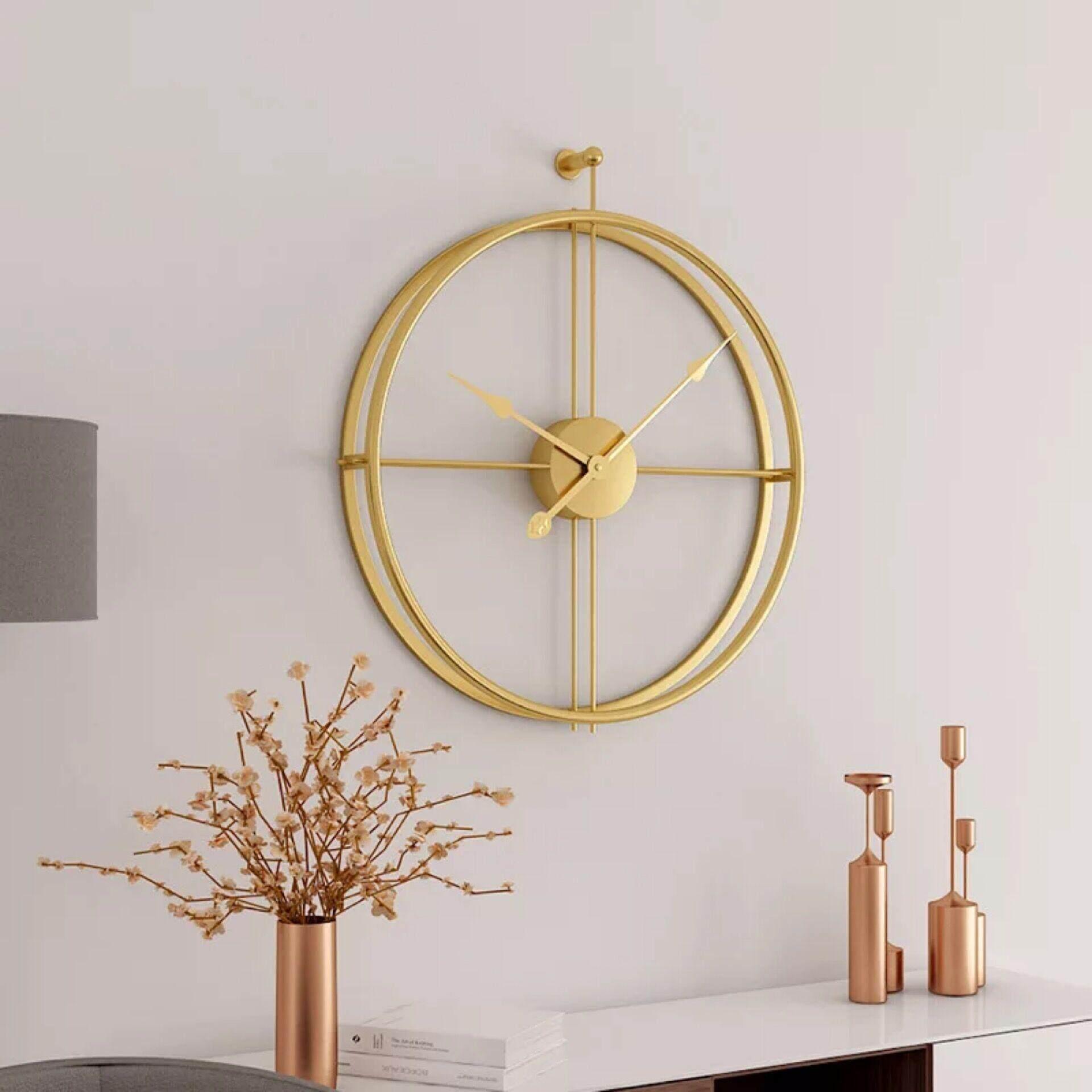 Large Nordic Style Creative Fashion Iron Wall Clock Modern Design Mute Clocks for Home Decor Office Hanging Wall Watch Clocks 59x52cm