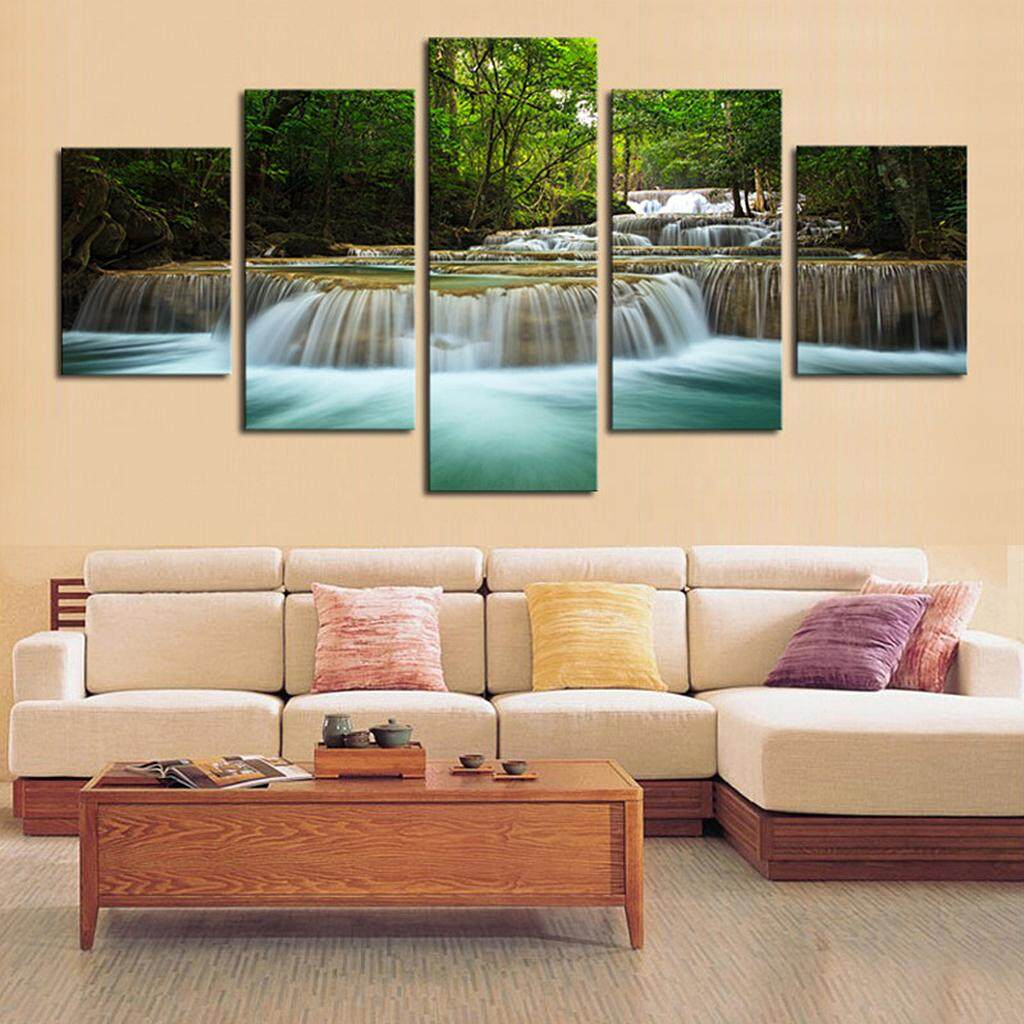 Perfk 5Pcs/Set Canvas Decor Wall Art Painting Picture Stream Scenry 20*35/45/55cm