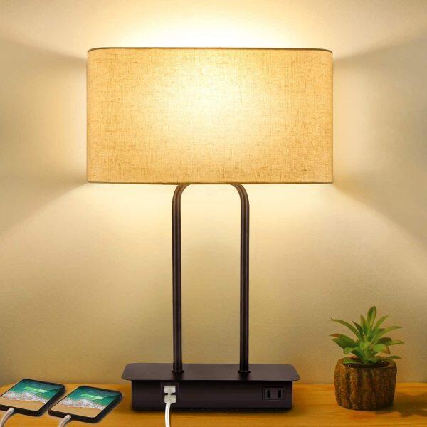Đèn Bàn Điều Khiển Cảm Ứng Có Thể Điều Chỉnh Độ Sáng 3 Chiều Với 2 Cổng USB Và Ổ Cắm Điện Xoay Chiều Đèn Ngủ Cạnh Giường Hiện Đại Với Bóng Vải Và Đế Kim Loại, Bao Gồm Bóng Đèn LED Cho Phòng Khách Phòng Ngủ Và Khách Sạn