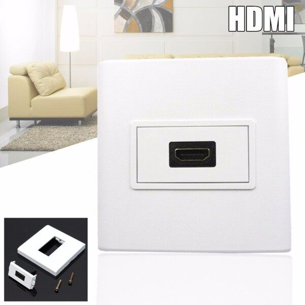 DIY Tools - HDMI Female Media Wall Plate Mount Faceplate Socket For Cables White with Screws - Home Improvement