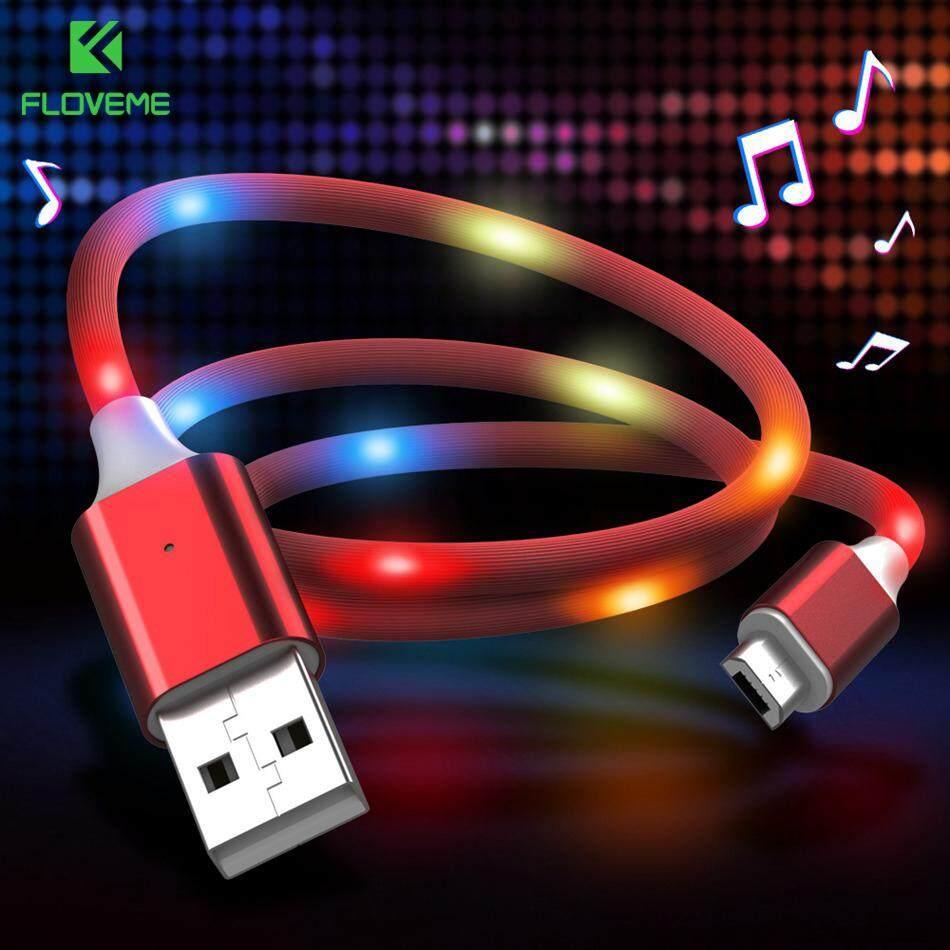 Floveme 2A Cepat Pengisian Tipe C Kabel untuk Samsung S10 S9 LED Kontrol Suara Usb C Kabel untuk Xiaomi Redmi Note 7 4X Kabel Mobile